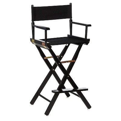 Casual Home Portable Bar Height Directors Chair with Wood Frame, Canvas Seat and Back, and Removable Footrest, Black