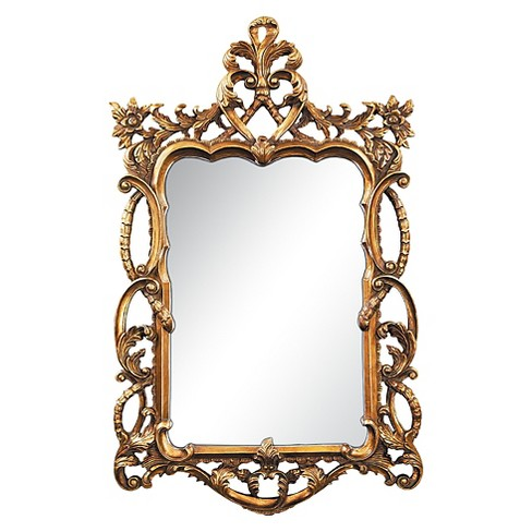 Rectangle Floral Scroll Decorative Wall Mirror Gold - Lazy Susan - image 1 of 1