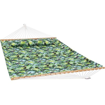 2-Person Quilted Printed Fabric Spreader Bar Hammock and Pillow - Tropical Greenery - Sunnydaze Decor
