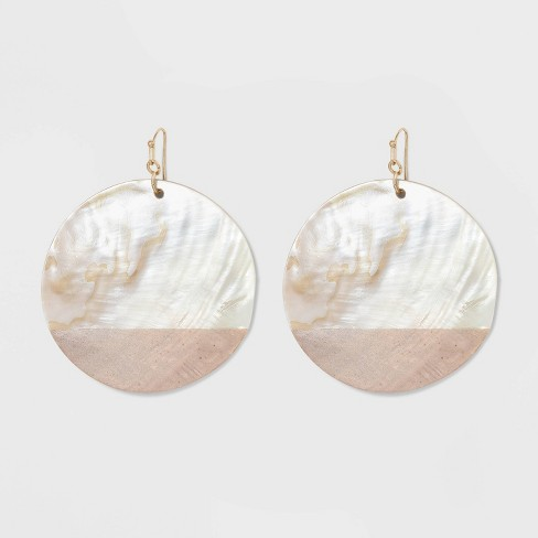 Round Natural Shell Earrings - A New Day™ - image 1 of 3