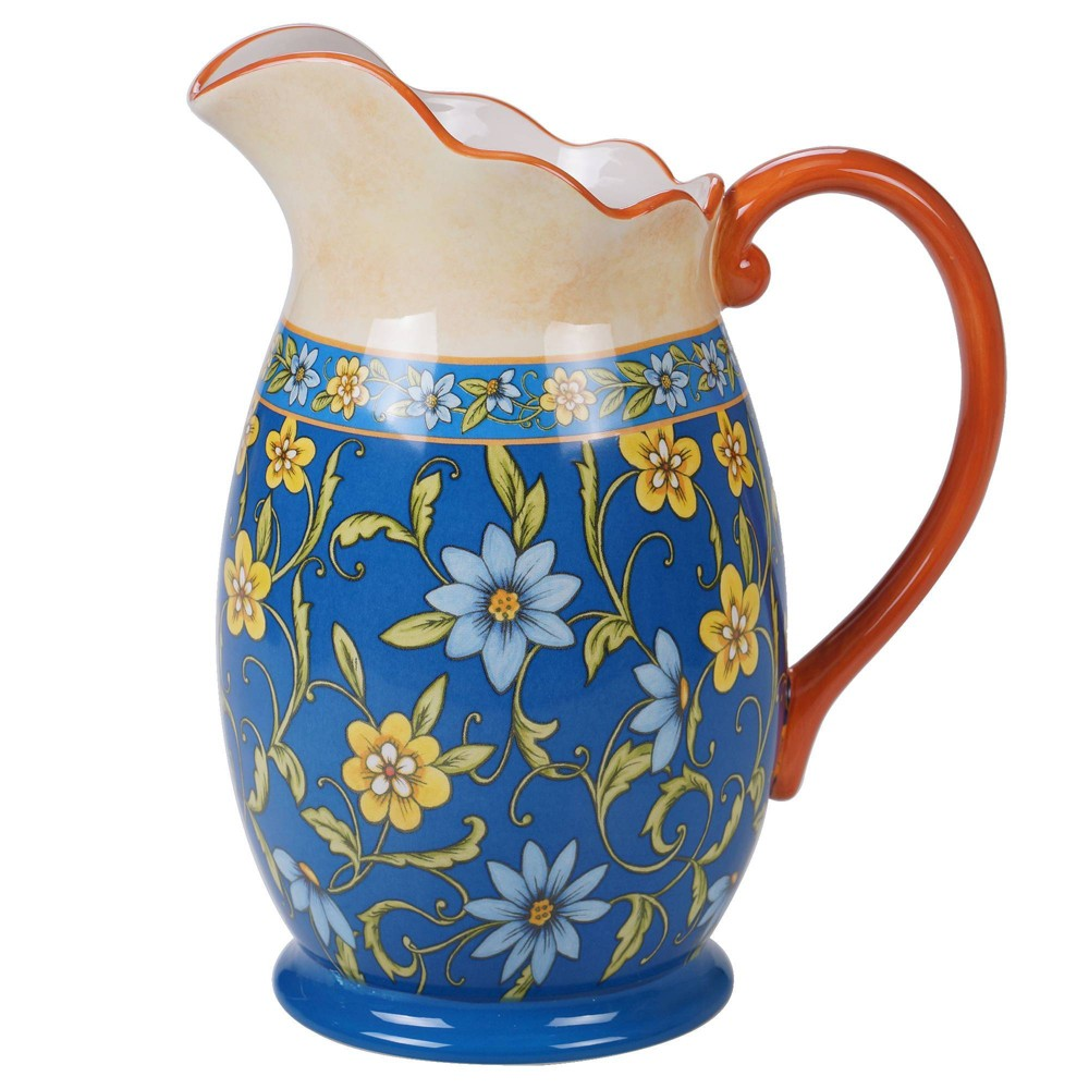 Image of 72oz Earthenware Torino Beverage Pitcher Blue - Certified International