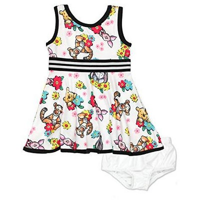 Disney Toddler Girls Fit and Flare Ultra Soft Casual Sleeveless Dress with Minnie Mouse and Daisy Duck Print for Infants