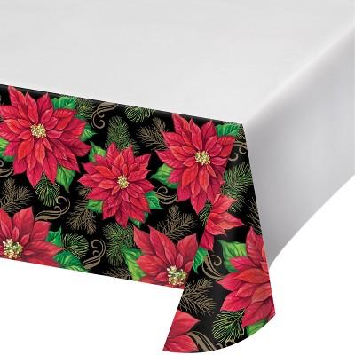 Charmant Posh Poinsettia Plastic Tablecloth : Target