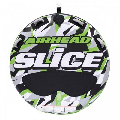 """Airhead AHSSL-22 Slice 58"""" Inflatable Double Rider Towable Lake Boating Tube Water Raft with Tow Point, Boston Valve, and Heavy-Duty PVC"""