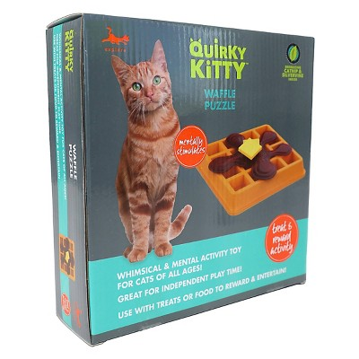 Quirky Kitty Waffle Puzzle Cat Toy - Orange