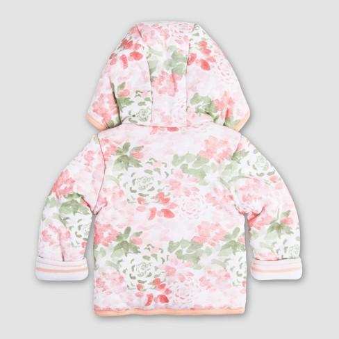 Burt s Bees Baby Girls  Organic Cotton Succulent Flowers Reversible Jacket  - Light Pink   Target 42f838659