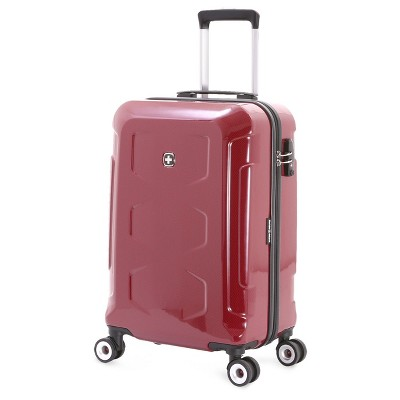 SwissGear Polycarbonate 20  Hardside Spinner Carry On Suitcase - Red
