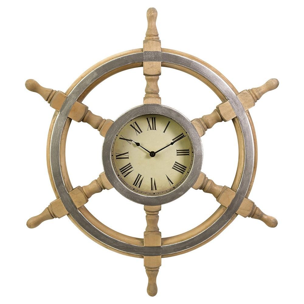 26 Round Helm Shaped Wall Clock Beige - Aurora