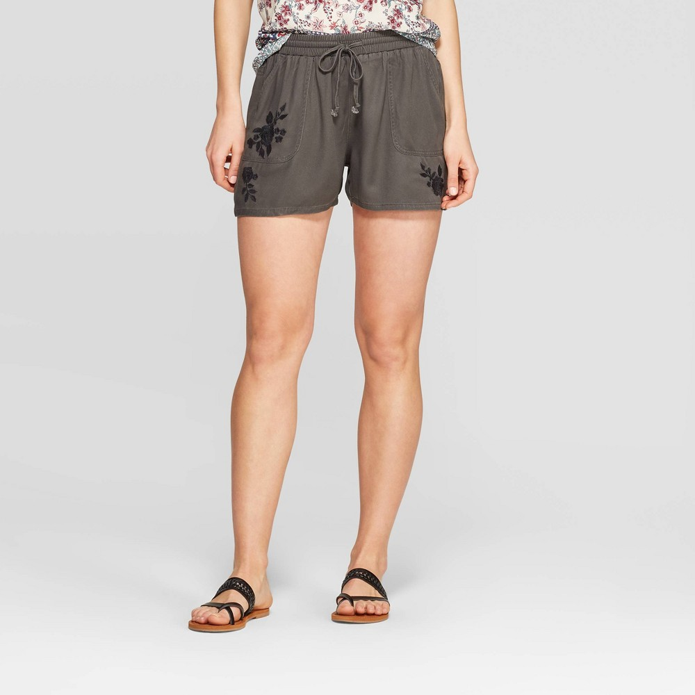 Women's Embroidered Mid-Rise Shorts - Knox Rose Black XS