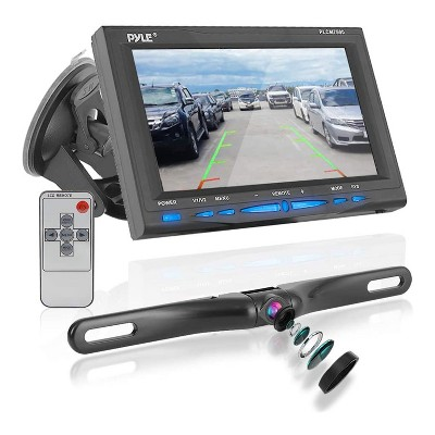 Pyle PLCM7500 7 Inch LCD Display Waterproof Rearview Car Backup Camera and Monitor Parking Reverse Assist System with Night Vision, Black