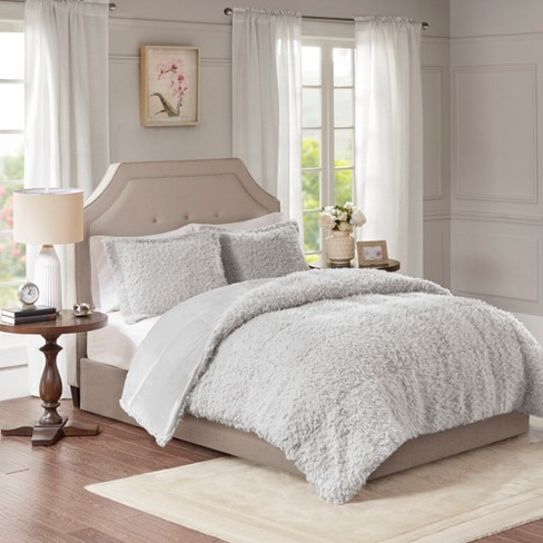 3pc Full Queen Zoe Faux Mohair Reverse Comforter Set Gray