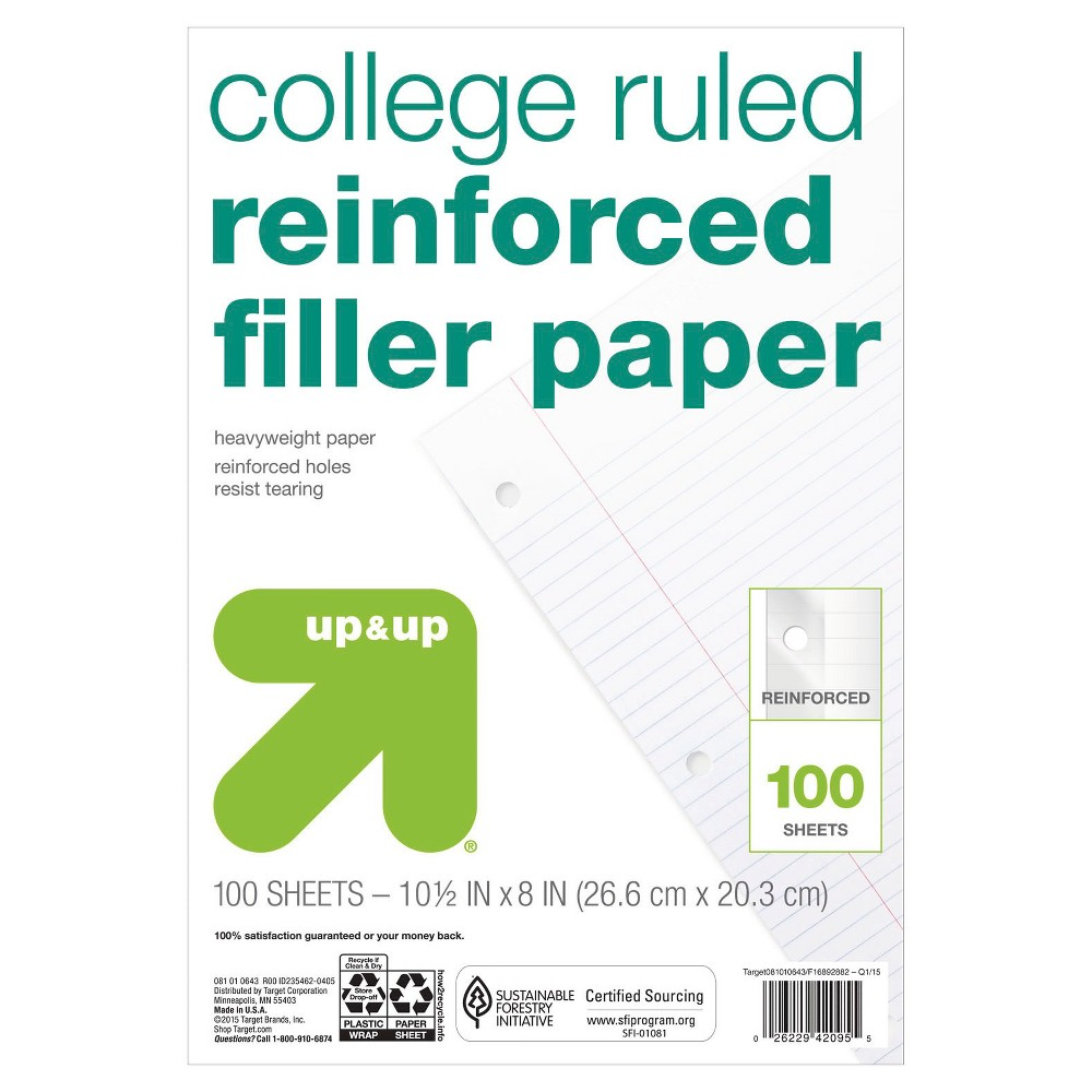 Image of 100ct College Ruled Reinforced Filler Paper - Up&Up