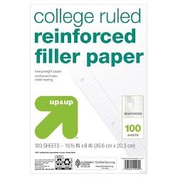 100ct College Ruled Reinforced Filler Paper - Up&Up™
