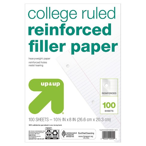 100ct College Ruled Reinforced Filler Paper - Up&Up™ - image 1 of 1