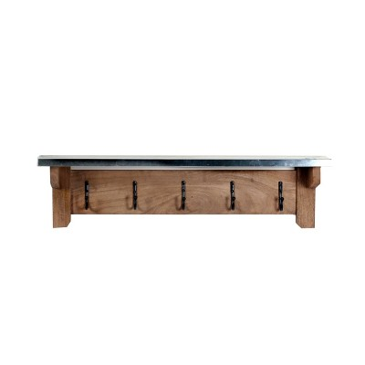 Millwork Bench with Coat Hook Shelf Wood and Zinc Metal Silver/Light Amber - Alaterre Furniture