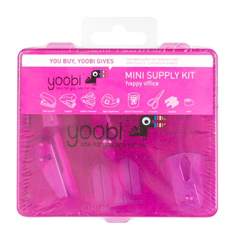Yoobi Mini Office Supply Kit Pink