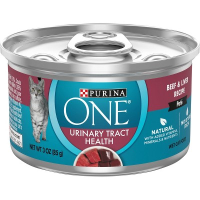 Purina ONE Urinary Tract Health Beef & Liver Pate Premium Wet Cat Food - 3oz