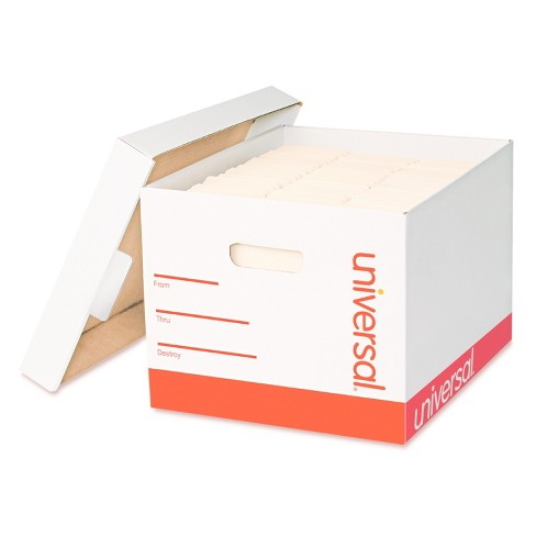Universal® Extra-Strength Storage Box with Lid, Letter/Legal, 12 x 15 x 10,  White, 12/Carton