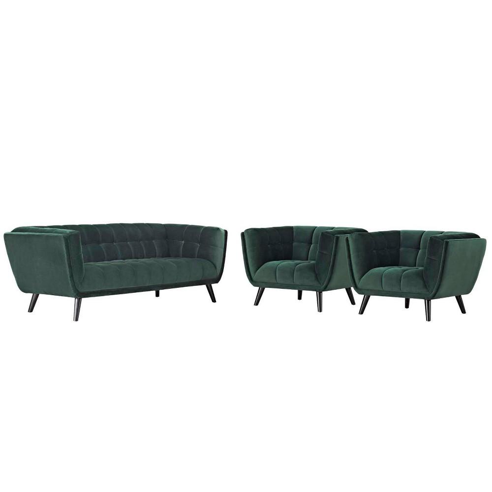 3pc Bestow Velvet Sofa and Armchair Set Modway