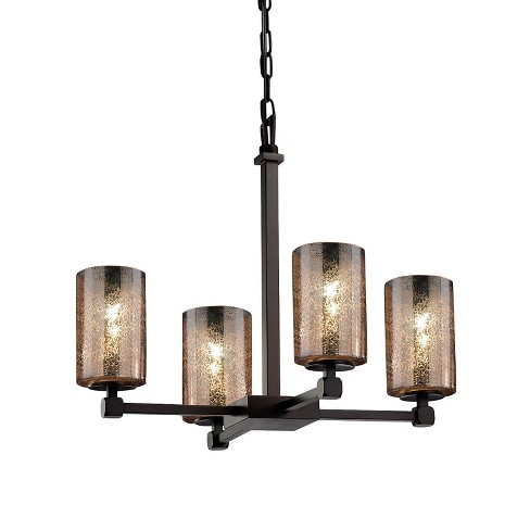 """Justice Design Group FSN-8420-10-MROR Fusion 21"""" Tetra 4 Light Shaded Chandelier - image 1 of 1"""