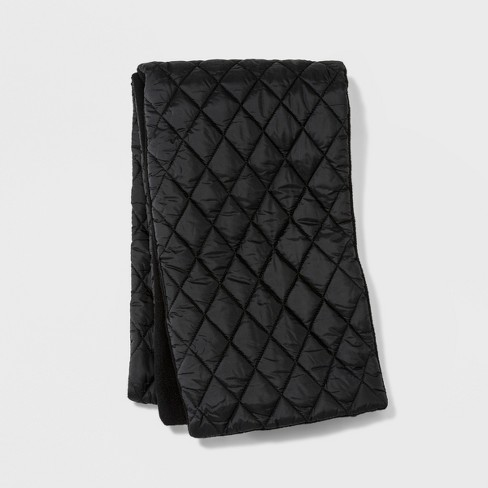Men's Reversible Puffer Quilting Scarf Black fashion scarves - Goodfellow & Co™ Black One Size - image 1 of 1