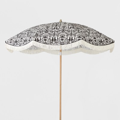 9u0027 Patio Umbrella With Fringe   Black U0026 White   Opalhouse™