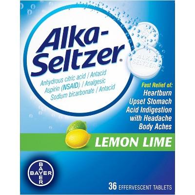 Alka Seltzer Antacid & Pain Relief Lemon Lime Tablets -Aspirin (NSAID)-36ct