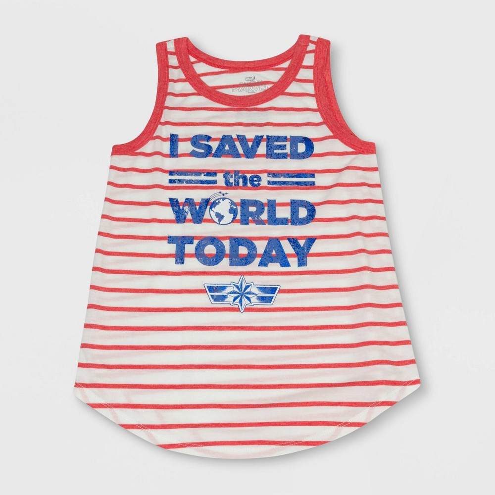 Girls' Captain Marvel Save The World Tank Top - Red/Ivory XL, White
