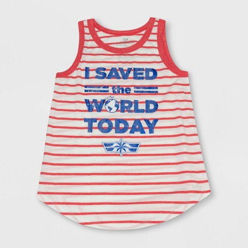 Girls' Captain Marvel Save The World Tank Top - Red/Ivory - image 1 of 2