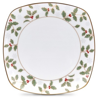 Noritake Holly and Berry Gold Square Accent Plate