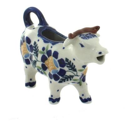 Blue Rose Polish Pottery Sunflower Cow Creamer
