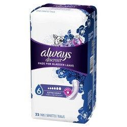 Always Discreet Extra Heavy Absorbency Pads for Bladder Leaks - 33ct
