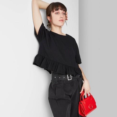 Women's Short Sleeve Cropped Peplum T-Shirt - Wild Fable™ - image 1 of 3