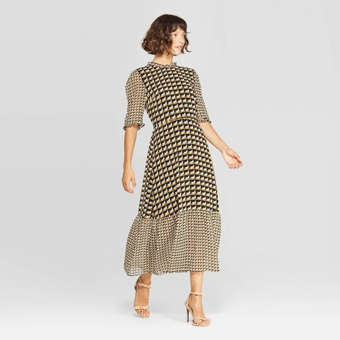 Women's Elbow Sleeve Crewneck A Line Midi Dress - Who What Wear™ Black/White - image 1 of 3