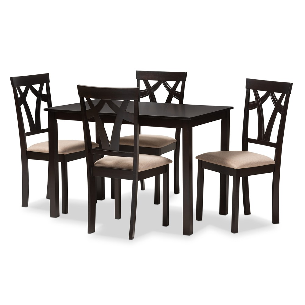 Queen 5pc Sylvia Espresso Finished Dining Set Sand/Brown (Brown/Brown) - Baxton Studio