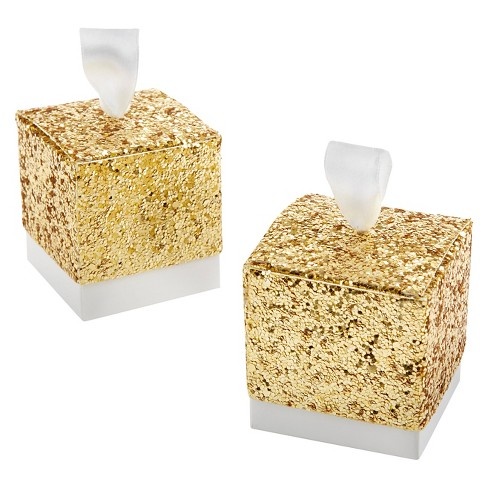"24ct Kate Aspen ""All That Glitters"" Gold Glitter Favor Box - image 1 of 1"