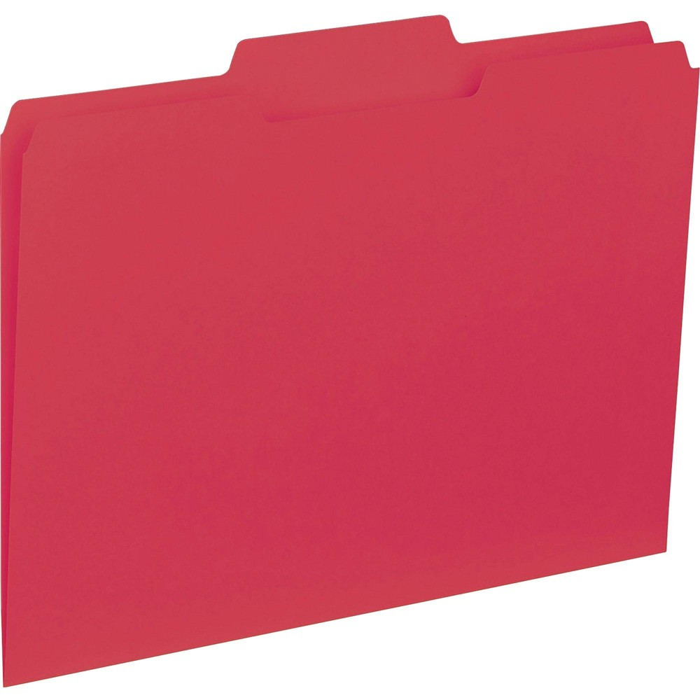 Image of Business Source 100ct 1/3 Cut Colored Interior File Folders