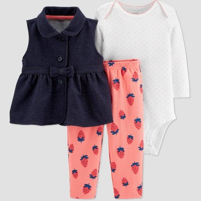 Baby Girls' Strawberry Top & Bottom Set - Just One You® made by carter's Navy 6M