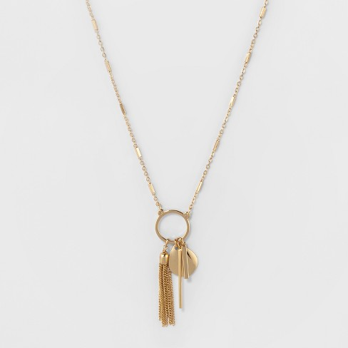 338e4859a Small Circle, Chain Tassel, Coin & 2 Bar Drops Short Necklace - A New Day™  Gold : Target