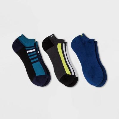 Pair of Thieves Men's 3pk Striped Low Cut Athletic Socks - Blue/Lime