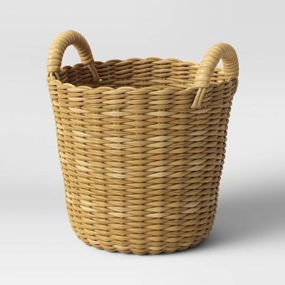 Medium Manmade Wicker Woven Basket Planter Beige - Threshold™