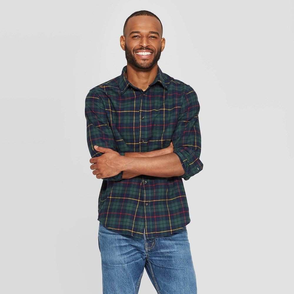 Image of Men's Plaid Standard Fit Long Sleeve 1-Pocket Flannel Button-Down Shirt - Goodfellow & Co Mint Gel L, Men's, Size: Large, Green Gel