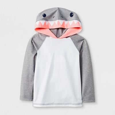 Toddler Boys' Long Sleeve Shark Hooded Rash Guard - Cat & Jack™ Gray 3T