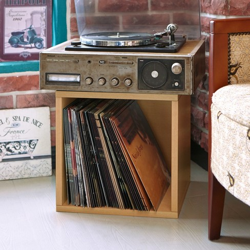 Vinyl Record Storage Cube Stackable Lp Al Cubby By Way Basics Natural Lifetime Guarantee Target