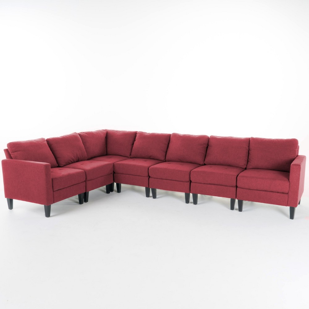 7pc Zahra Sectional Couch Deep Red - Christopher Knight Home