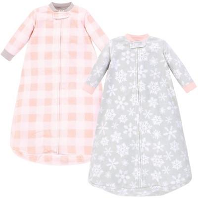 Hudson Baby Unisex Baby Long-Sleeve Fleece Sleeping Bag - Gray/Pink Snowflake 0-9M