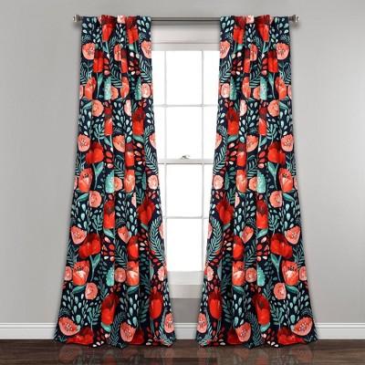 Set of 2 Poppy Garden Room Darkening Window Curtain Panels - Lush Décor