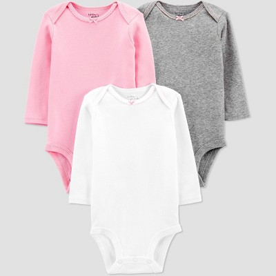 Baby Girls' 3pk Organic Cotton Long Sleeve Bodysuit - little planet organic by carter's Pink 3M