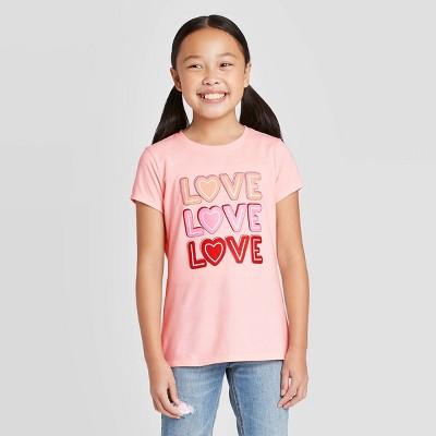 Girls' Short Sleeve 'LOVE' Graphic T-Shirt - Cat & Jack™ Powder Pink