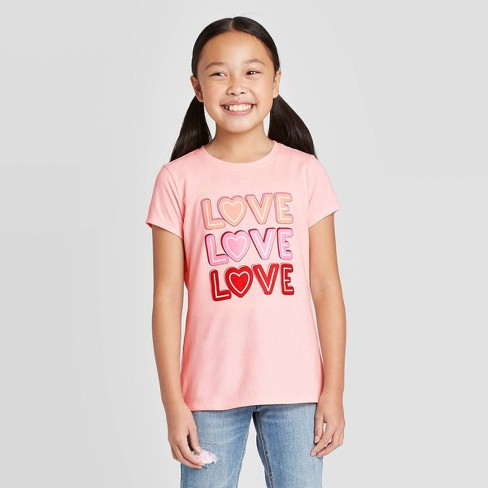 Girls' Short Sleeve 'LOVE' Graphic T-Shirt - Cat & Jack™ Powder Pink - image 1 of 3
